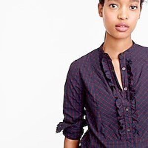 Ruffle Popover Mini Windowpane Check Plaid Shirt